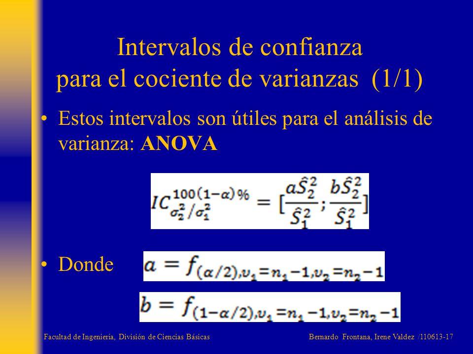 Estos intervalos son útiles para el análisis de varianza: ANOVA Donde Intervalos de confianza para el cociente de varianzas (1/1) Facultad de Ingenier