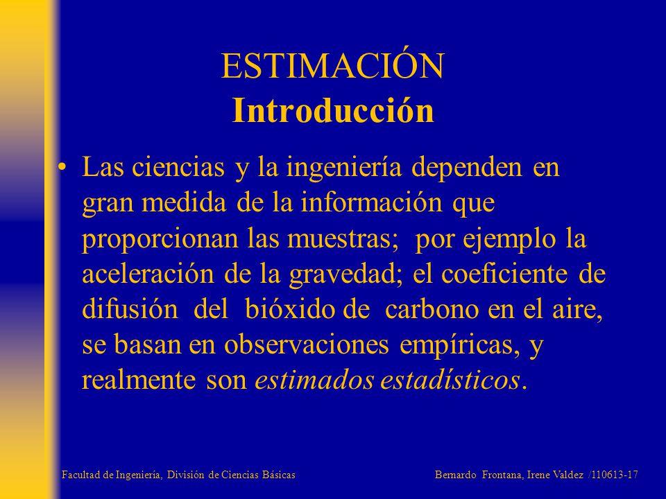 ESTIMACIÓN Introducción Las ciencias y la ingeniería dependen en gran medida de la información que proporcionan las muestras; por ejemplo la aceleraci