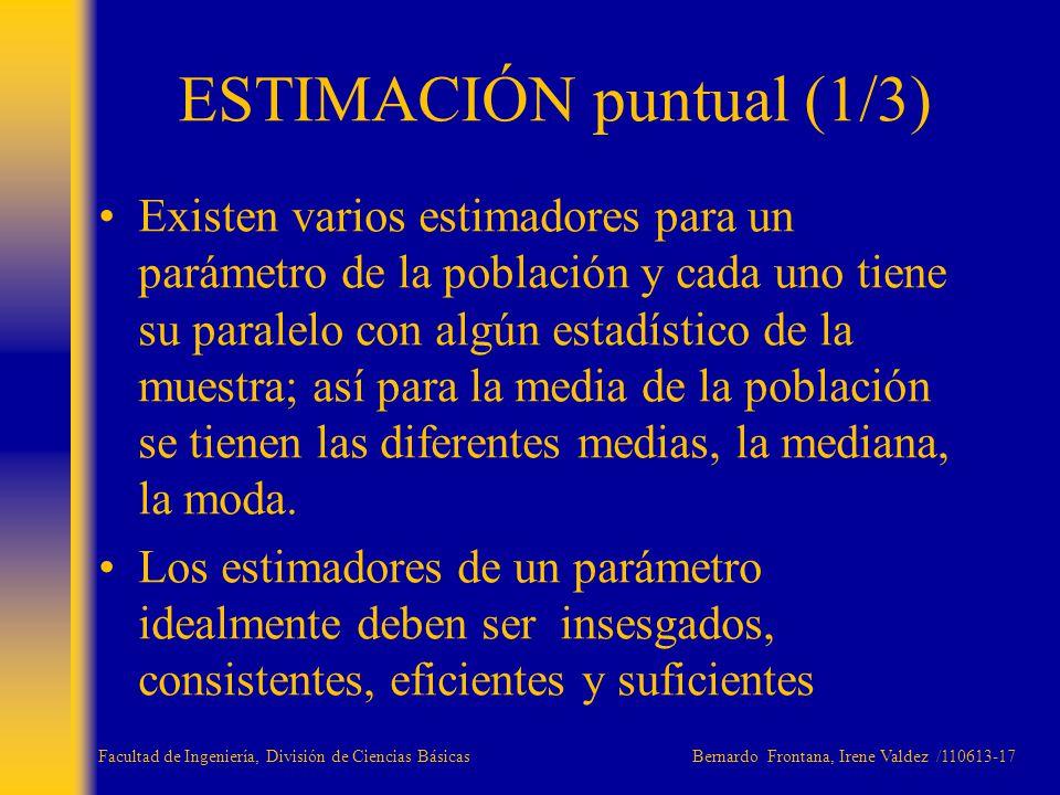 Existen varios estimadores para un parámetro de la población y cada uno tiene su paralelo con algún estadístico de la muestra; así para la media de la