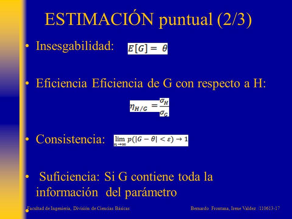 Insesgabilidad: Eficiencia Eficiencia de G con respecto a H: Consistencia: Suficiencia: Si G contiene toda la información del parámetro ESTIMACIÓN pun