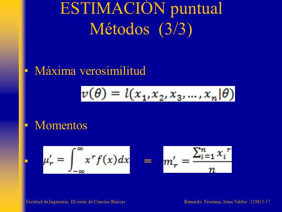 Máxima verosimilitud Momentos = ESTIMACIÓN puntual Métodos (3/3) Facultad de Ingeniería, División de Ciencias Básicas Bernardo Frontana, Irene Valdez