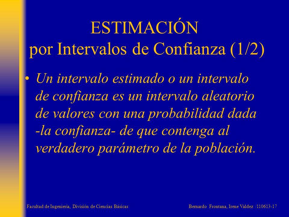 Un intervalo estimado o un intervalo de confianza es un intervalo aleatorio de valores con una probabilidad dada -la confianza- de que contenga al ver