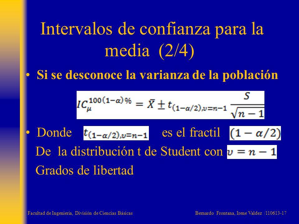 Si se desconoce la varianza de la población Donde es el fractil De la distribución t de Student con Grados de libertad Intervalos de confianza para la