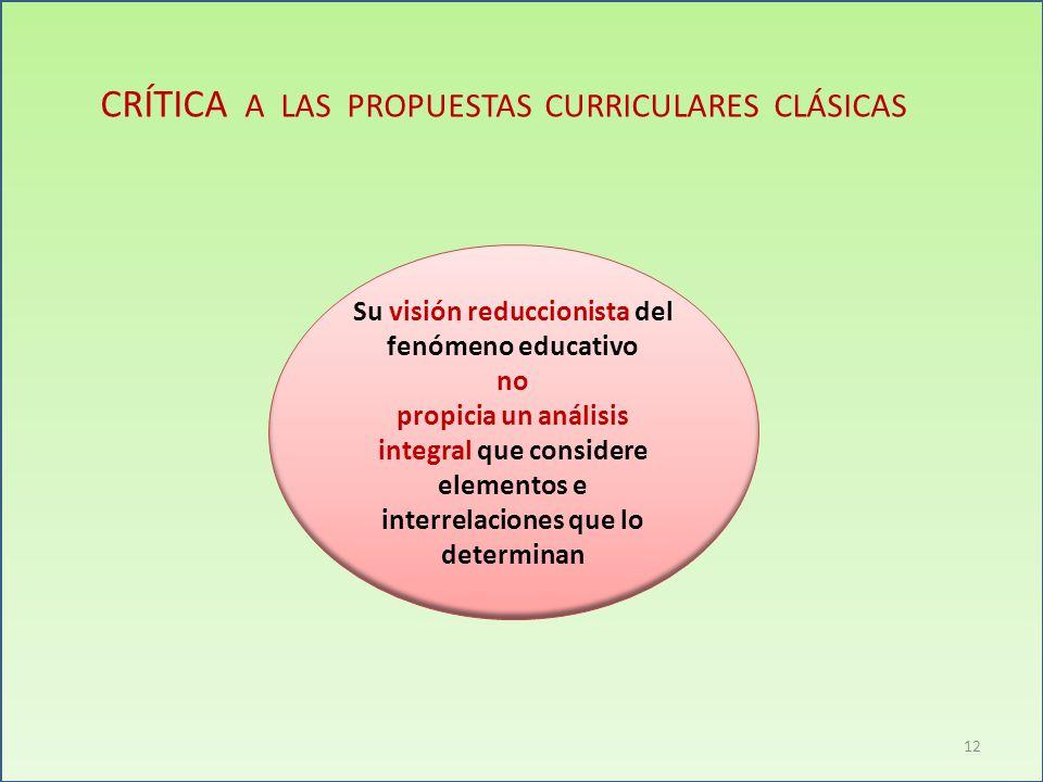 CRÍTICA A LAS PROPUESTAS CURRICULARES CLÁSICAS Su visión reduccionista del fenómeno educativo no propicia un análisis integral que considere elementos e interrelaciones que lo determinan 12