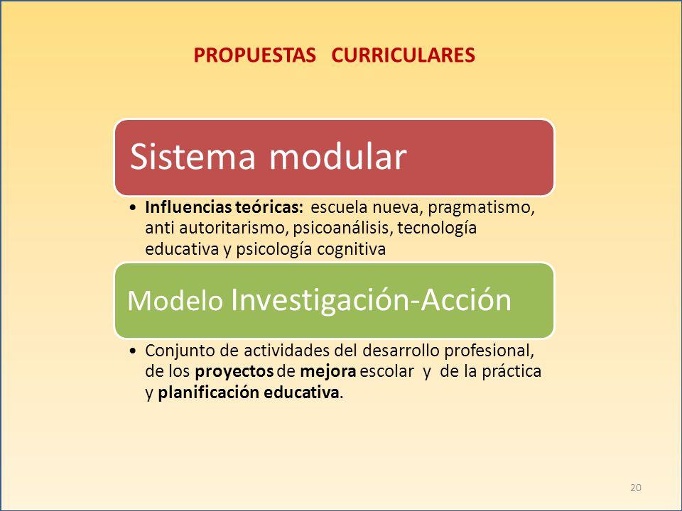 PROPUESTAS CURRICULARES Sistema modular Influencias teóricas: escuela nueva, pragmatismo, anti autoritarismo, psicoanálisis, tecnología educativa y ps