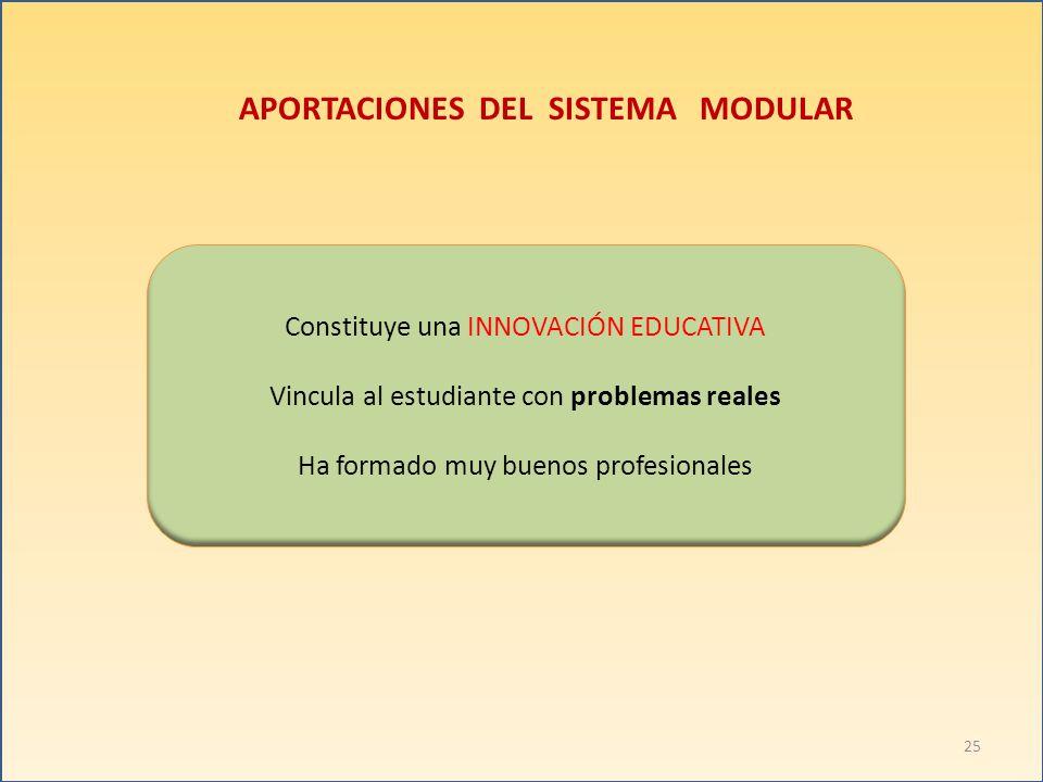 APORTACIONES DEL SISTEMA MODULAR Constituye una INNOVACIÓN EDUCATIVA Vincula al estudiante con problemas reales Ha formado muy buenos profesionales 25