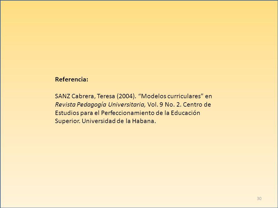 Referencia: SANZ Cabrera, Teresa (2004). Modelos curriculares en Revista Pedagogía Universitaria, Vol. 9 No. 2. Centro de Estudios para el Perfecciona