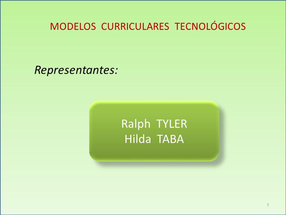 MODELOS CURRICULARES TECNOLÓGICOS Representantes: Ralph TYLER Hilda TABA Ralph TYLER Hilda TABA 7