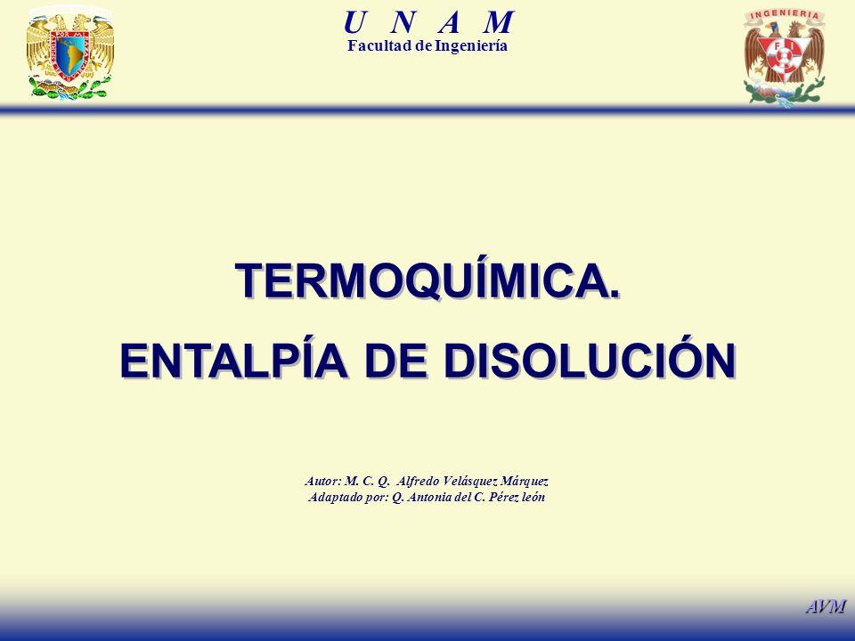 U N A M Facultad de Ingeniería AVM TERMOQUÍMICA. ENTALPÍA DE DISOLUCIÓN TERMOQUÍMICA. ENTALPÍA DE DISOLUCIÓN Autor: M. C. Q. Alfredo Velásquez Márquez