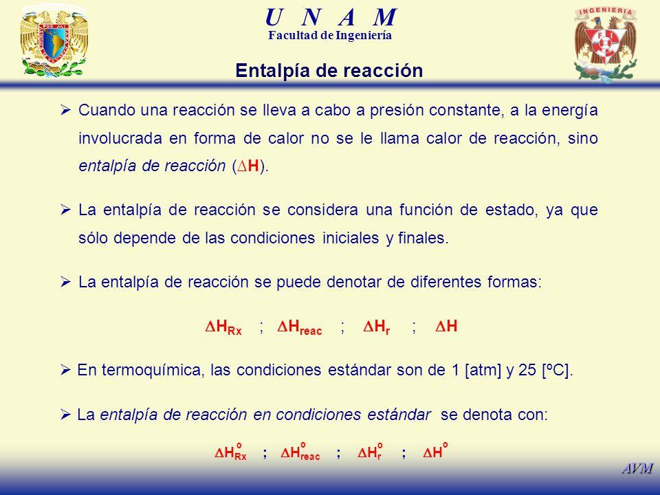 U N A M Facultad de Ingeniería AVM Cuando una reacción se lleva a cabo a presión constante, a la energía involucrada en forma de calor no se le llama