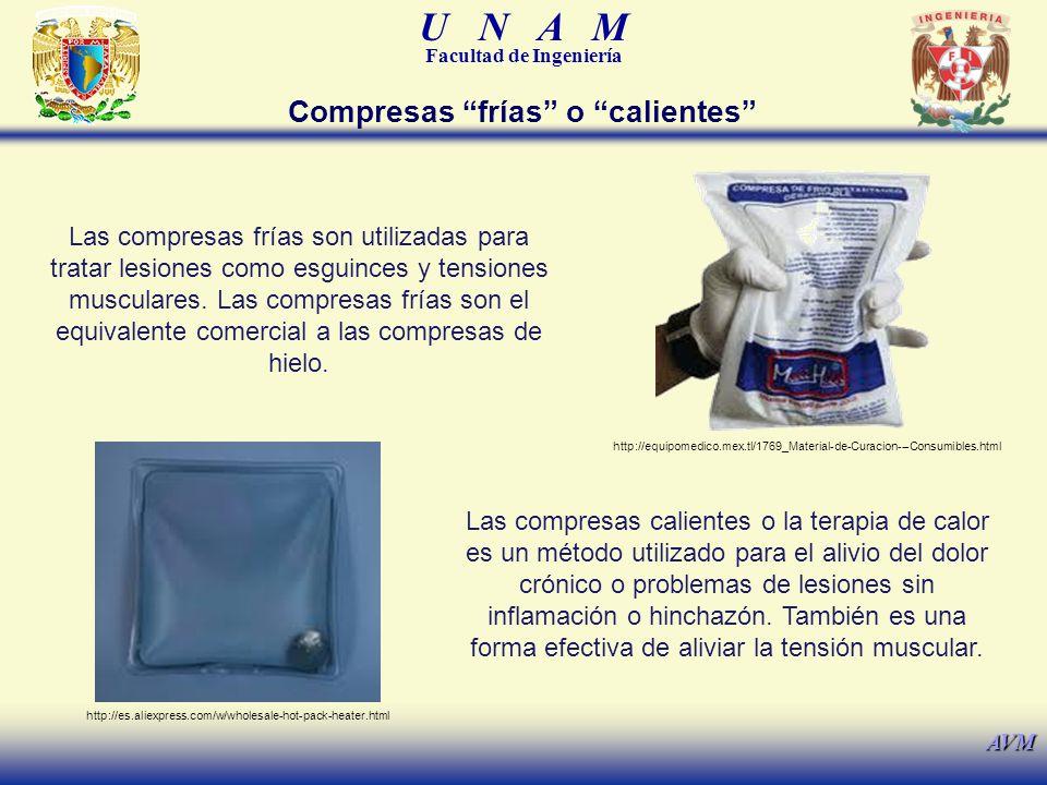 U N A M Facultad de Ingeniería AVM Compresas frías o calientes Las compresas frías son utilizadas para tratar lesiones como esguinces y tensiones musc