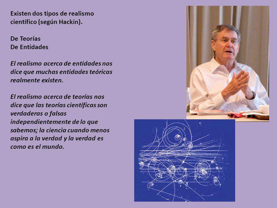 Existen dos tipos de realismo científico (según Hackin). De Teorías De Entidades El realismo acerca de entidades nos dice que muchas entidades teórica