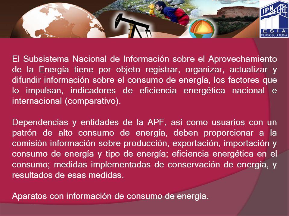 El Subsistema Nacional de Información sobre el Aprovechamiento de la Energía tiene por objeto registrar, organizar, actualizar y difundir información
