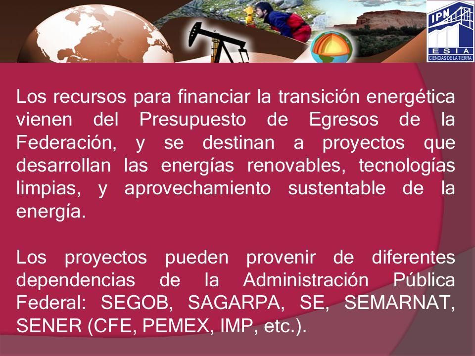 Los recursos para financiar la transición energética vienen del Presupuesto de Egresos de la Federación, y se destinan a proyectos que desarrollan las