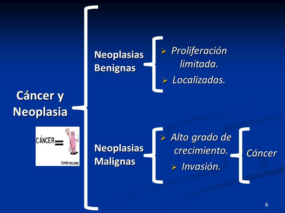 Células sin regulación Invasión a órganos y tejidos Proliferación células anormales Metástasis Reproducción (Tumor) (Tumor) Infiltración y Desplazamiento Desprendimiento celular Producción de tumores secundarios 7