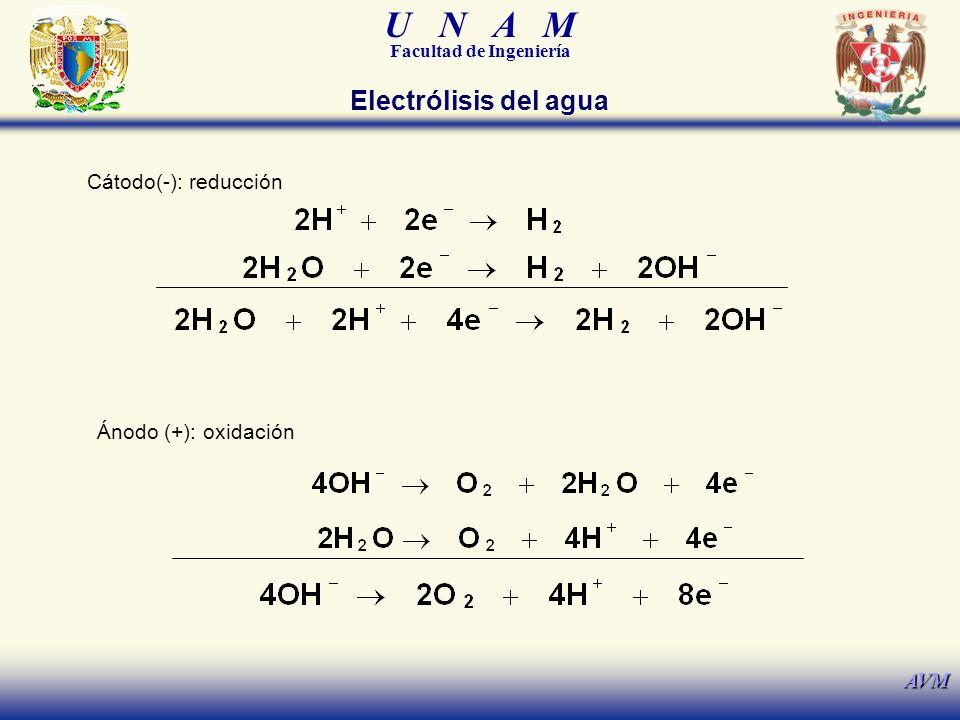 U N A M Facultad de Ingeniería AVM Cátodo(-): reducción Ánodo (+): oxidación Electrólisis del agua