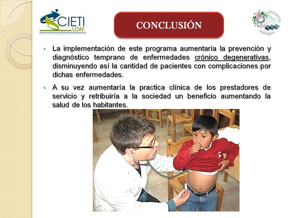 La implementación de este programa aumentaría la prevención y diagnóstico temprano de enfermedades crónico degenerativas, disminuyendo así la cantidad