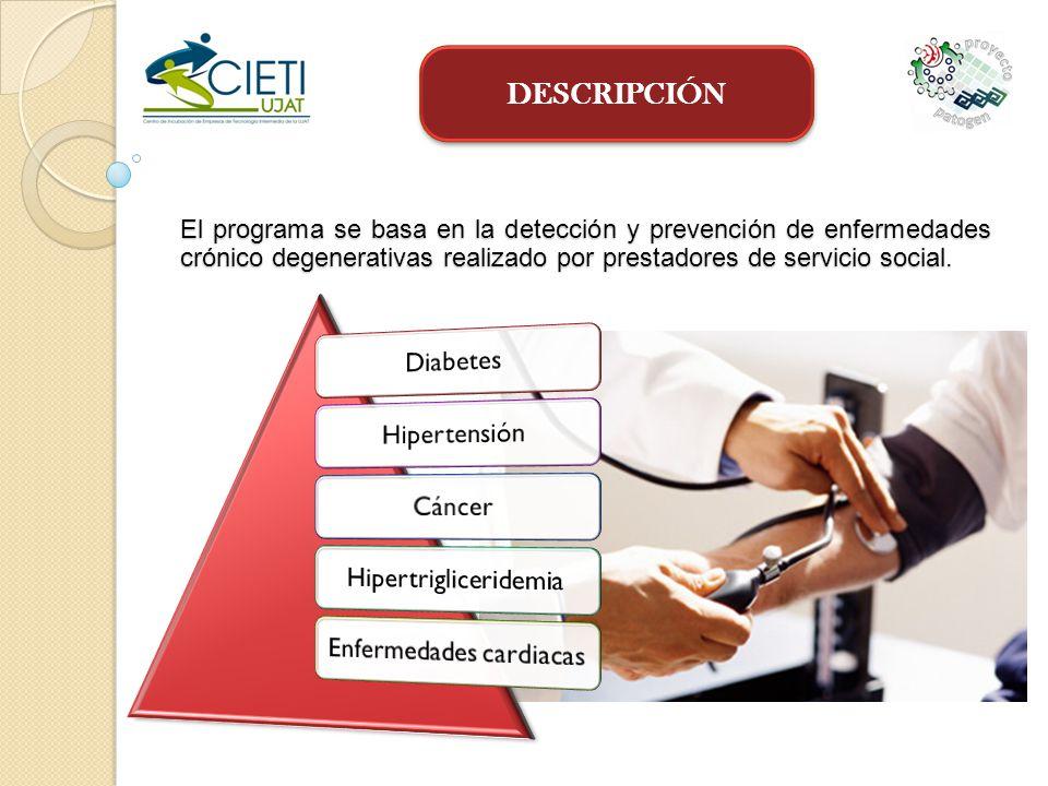DESCRIPCIÓN El programa se basa en la detección y prevención de enfermedades crónico degenerativas realizado por prestadores de servicio social.