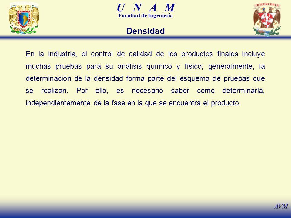 U N A M Facultad de Ingeniería AVM Densidad En la industria, el control de calidad de los productos finales incluye muchas pruebas para su análisis qu