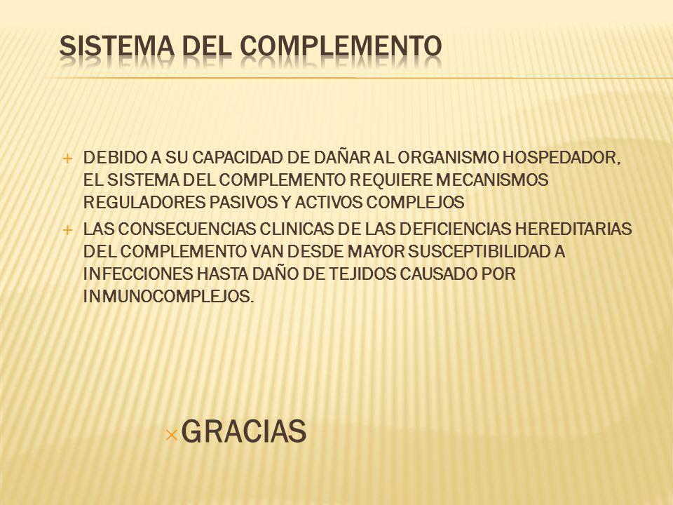 DEBIDO A SU CAPACIDAD DE DAÑAR AL ORGANISMO HOSPEDADOR, EL SISTEMA DEL COMPLEMENTO REQUIERE MECANISMOS REGULADORES PASIVOS Y ACTIVOS COMPLEJOS LAS CON