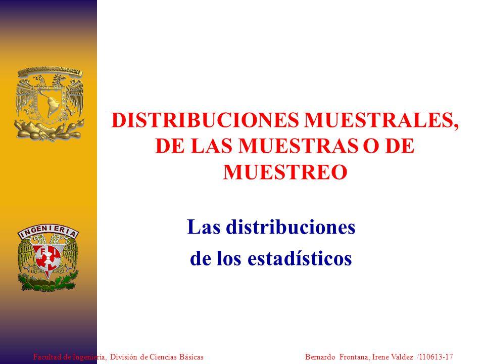 DISTRIBUCIONES MUESTRALES, DE LAS MUESTRAS O DE MUESTREO Las distribuciones de los estadísticos Facultad de Ingeniería, División de Ciencias Básicas B