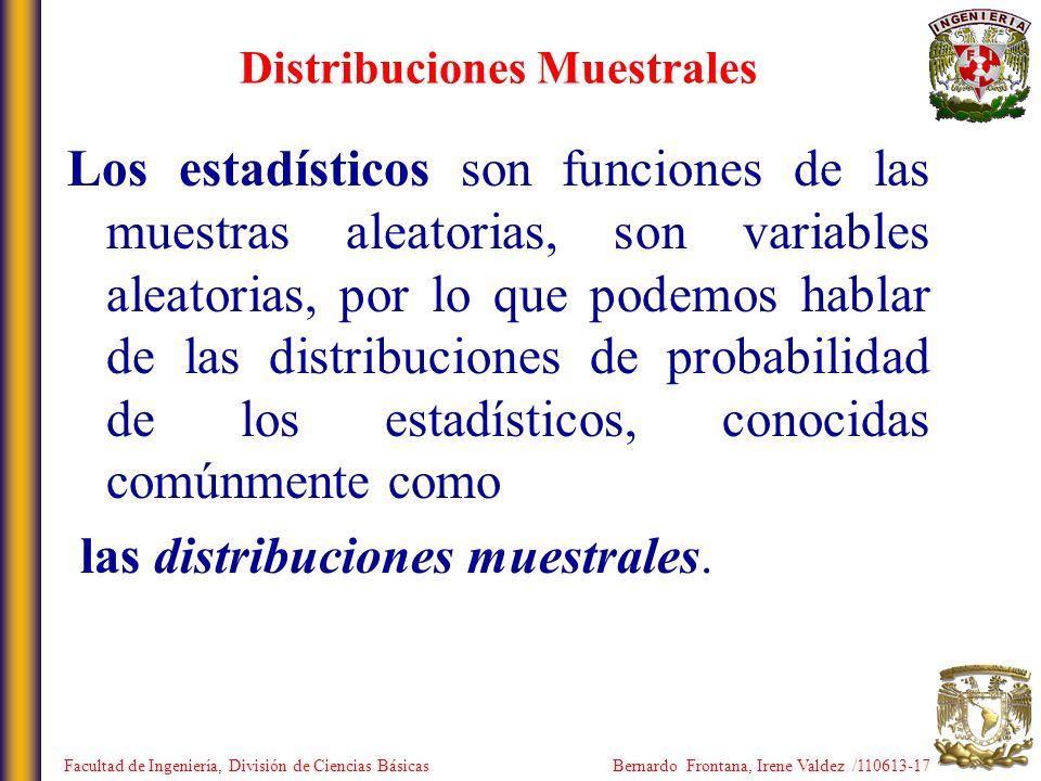 Distribuciones Muestrales Los estadísticos son funciones de las muestras aleatorias, son variables aleatorias, por lo que podemos hablar de las distri