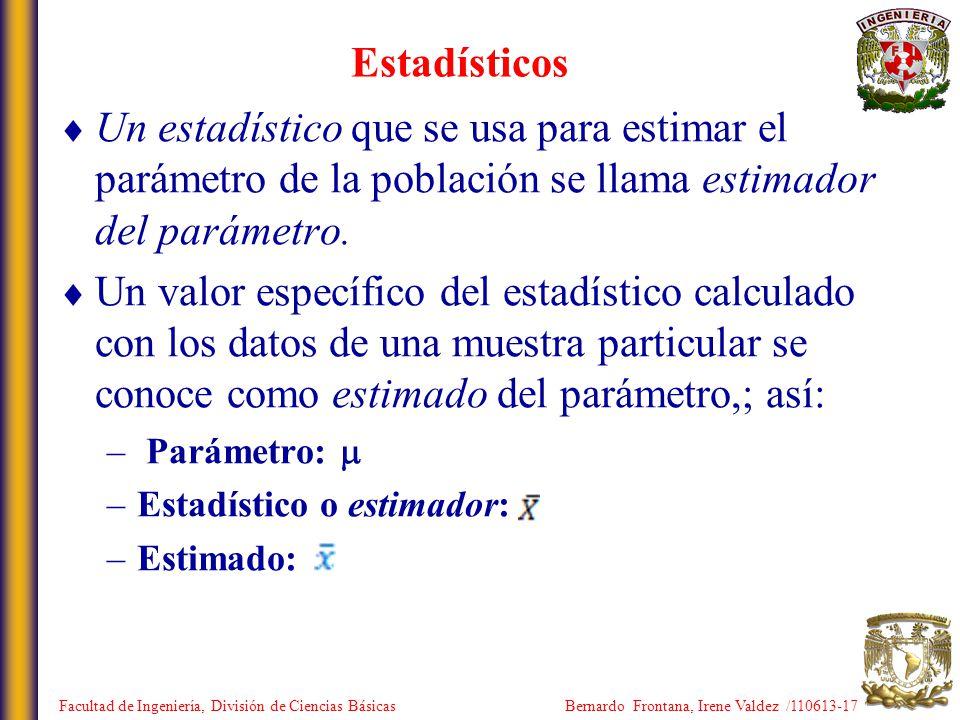 Estadísticos Un estadístico que se usa para estimar el parámetro de la población se llama estimador del parámetro. Un valor específico del estadístico