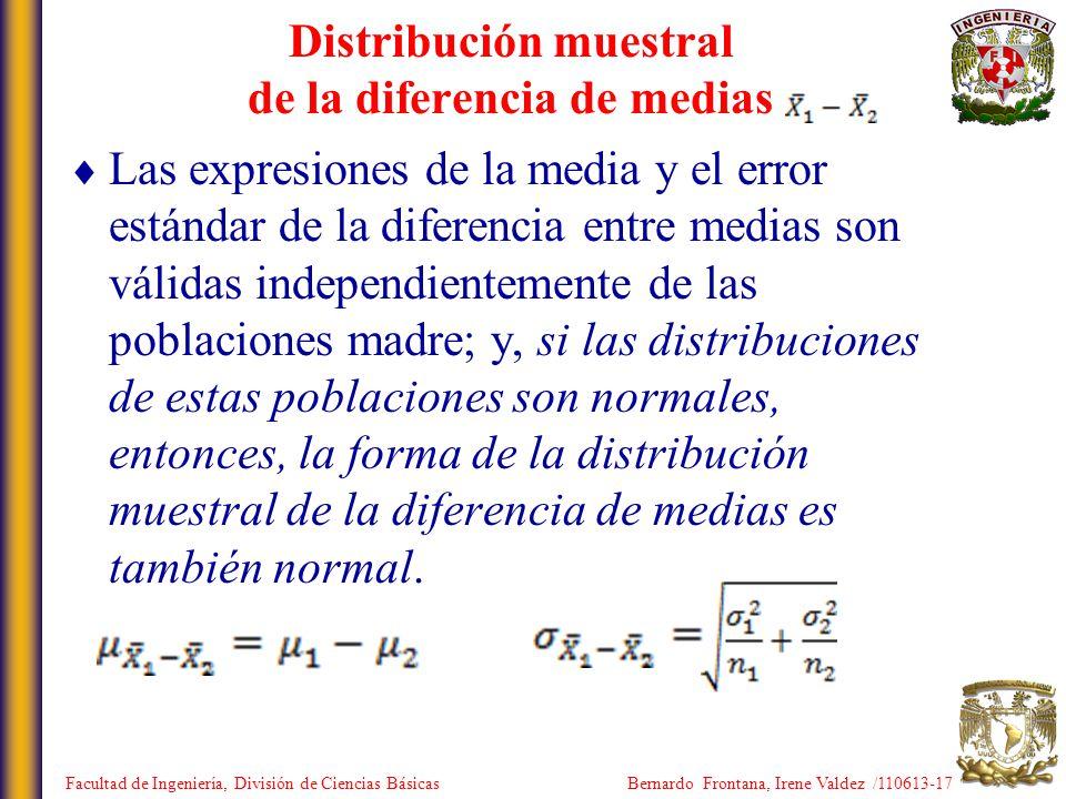 Las expresiones de la media y el error estándar de la diferencia entre medias son válidas independientemente de las poblaciones madre; y, si las distr