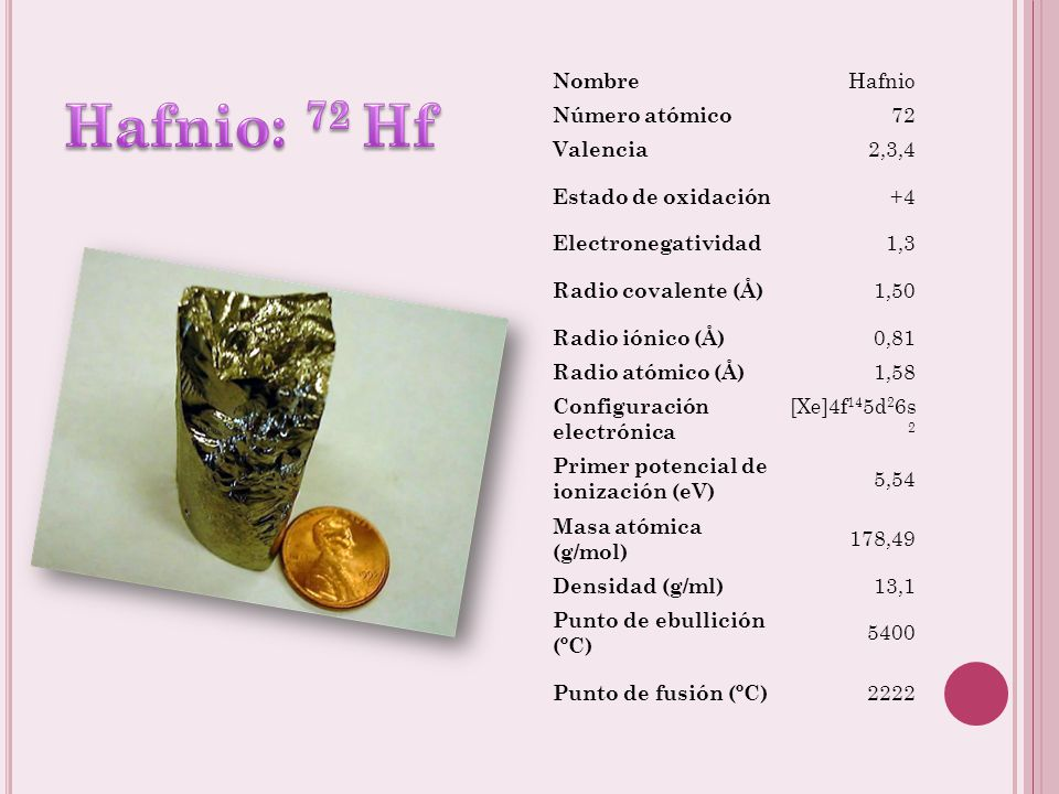 Nombre Zirconio Número atómico 40 Valencia 2,3,4 Estado de oxidación +4 Electronegatividad 1,4 Radio covalente (Å) 1,48 Radio iónico (Å) 0,80 Radio at