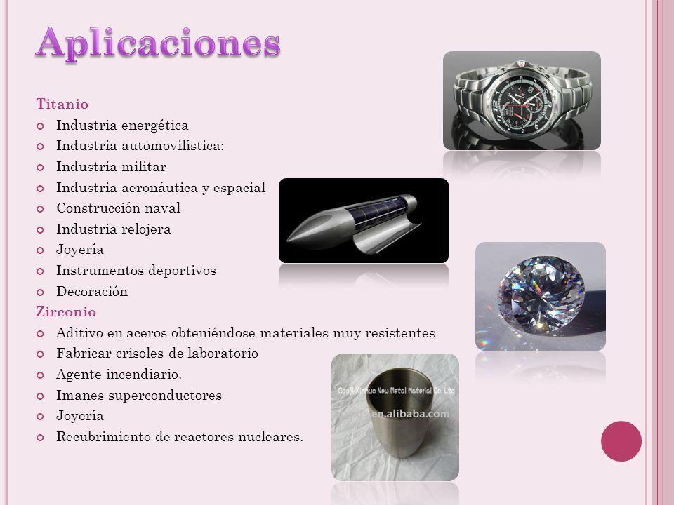 Titanio: Se utiliza el método de Kroll Obtención de tetracloruro de titanio por cloración a 900 °C, en presencia de carbono, mediante la reacción: 2 F