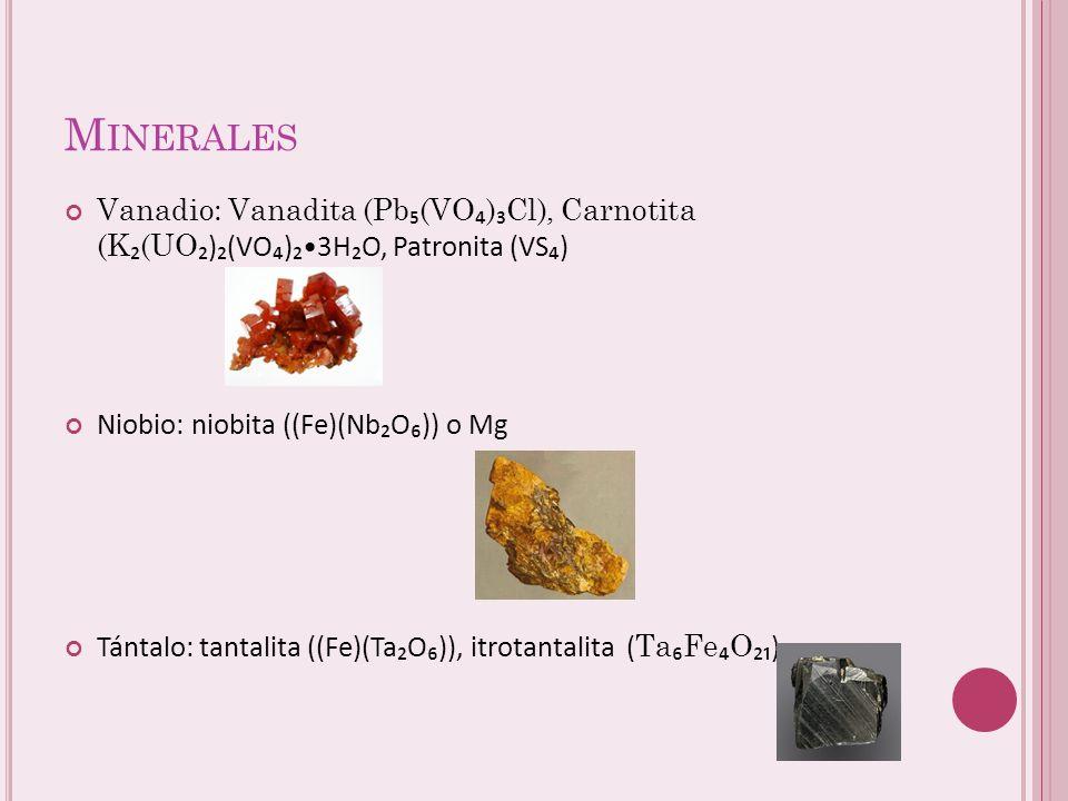 Número Atómico: 23 Masa Atómica: 50,9415 Electronegatividad: 1,63 Punto de Fusión (ºC) : 1910 Punto de Ebullición (ºC) : 3407 Número Atómico: 41 Masa