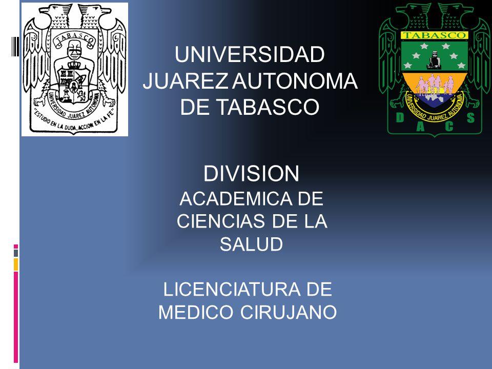 UNIVERSIDAD JUAREZ AUTONOMA DE TABASCO DIVISION ACADEMICA DE CIENCIAS DE LA SALUD LICENCIATURA DE MEDICO CIRUJANO