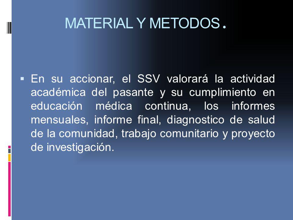 MATERIAL Y METODOS. En su accionar, el SSV valorará la actividad académica del pasante y su cumplimiento en educación médica continua, los informes me