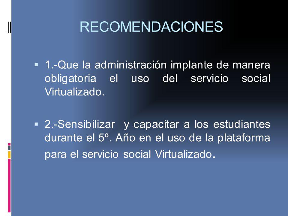 RECOMENDACIONES 1.-Que la administración implante de manera obligatoria el uso del servicio social Virtualizado. 2.-Sensibilizar y capacitar a los est