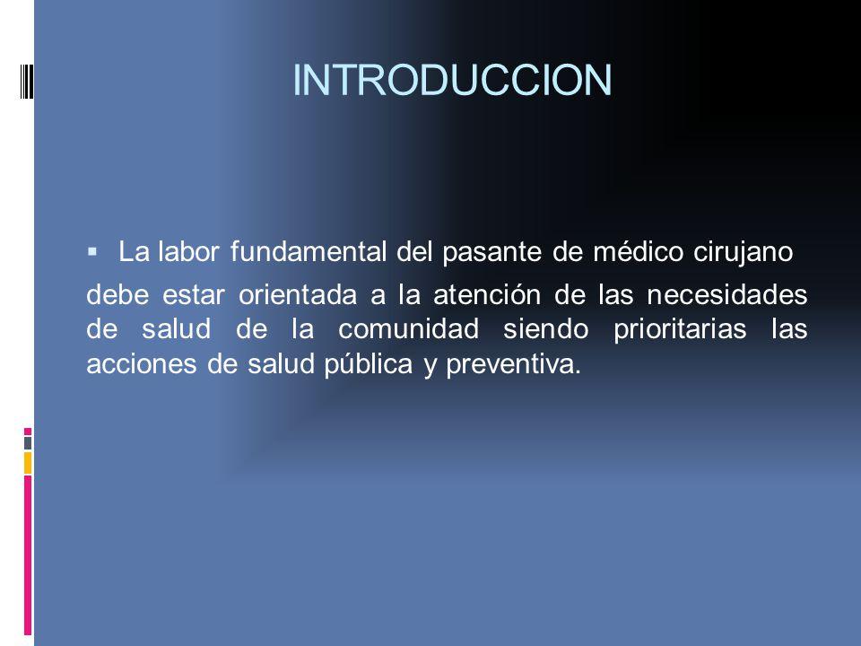 INTRODUCCION La labor fundamental del pasante de médico cirujano debe estar orientada a la atención de las necesidades de salud de la comunidad siendo