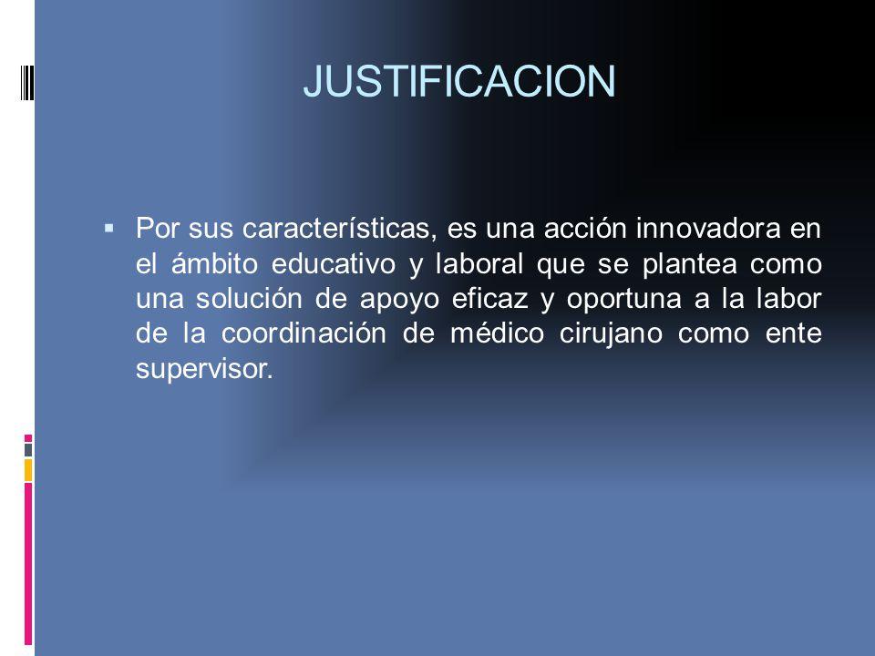 JUSTIFICACION Por sus características, es una acción innovadora en el ámbito educativo y laboral que se plantea como una solución de apoyo eficaz y op