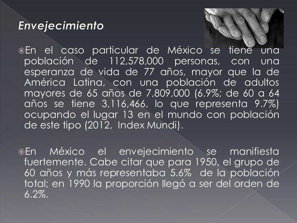 En el caso particular de México se tiene una población de 112,578,000 personas, con una esperanza de vida de 77 años, mayor que la de América Latina, con una población de adultos mayores de 65 años de 7,809,000 (6.9%; de 60 a 64 años se tiene 3,116,466, lo que representa 9.7%) ocupando el lugar 13 en el mundo con población de este tipo (2012, Index Mundi).