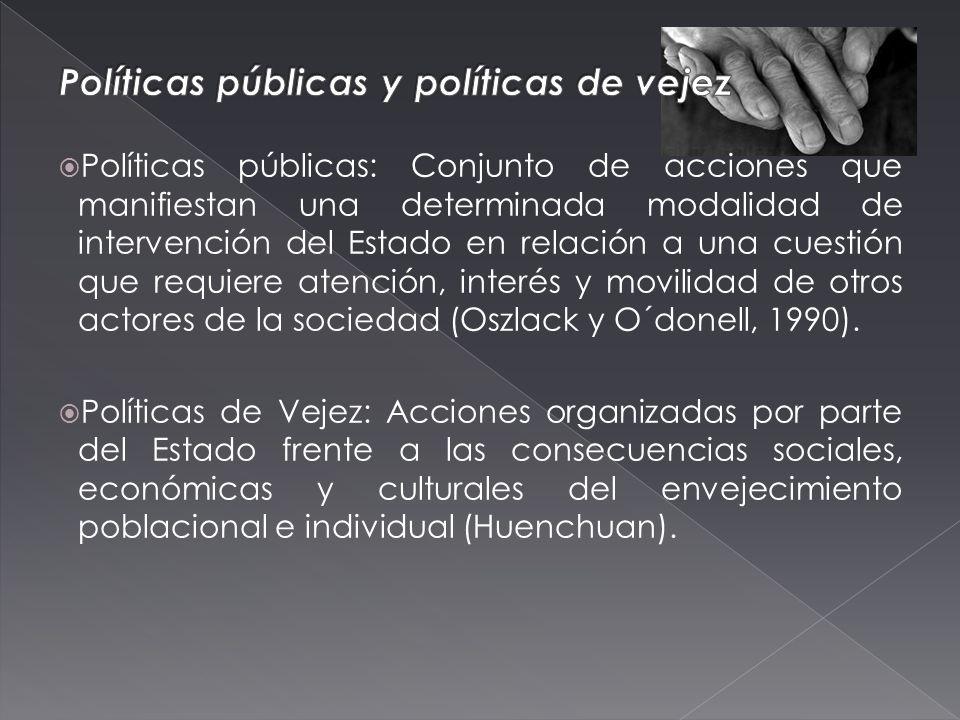 Políticas públicas: Conjunto de acciones que manifiestan una determinada modalidad de intervención del Estado en relación a una cuestión que requiere atención, interés y movilidad de otros actores de la sociedad (Oszlack y O´donell, 1990).