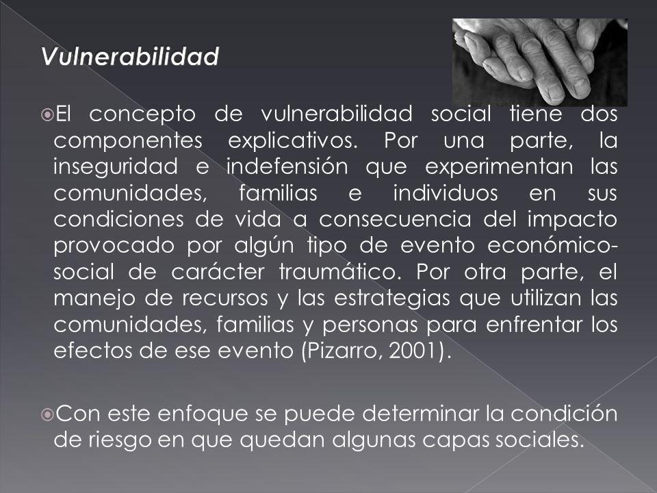 El concepto de vulnerabilidad social tiene dos componentes explicativos.
