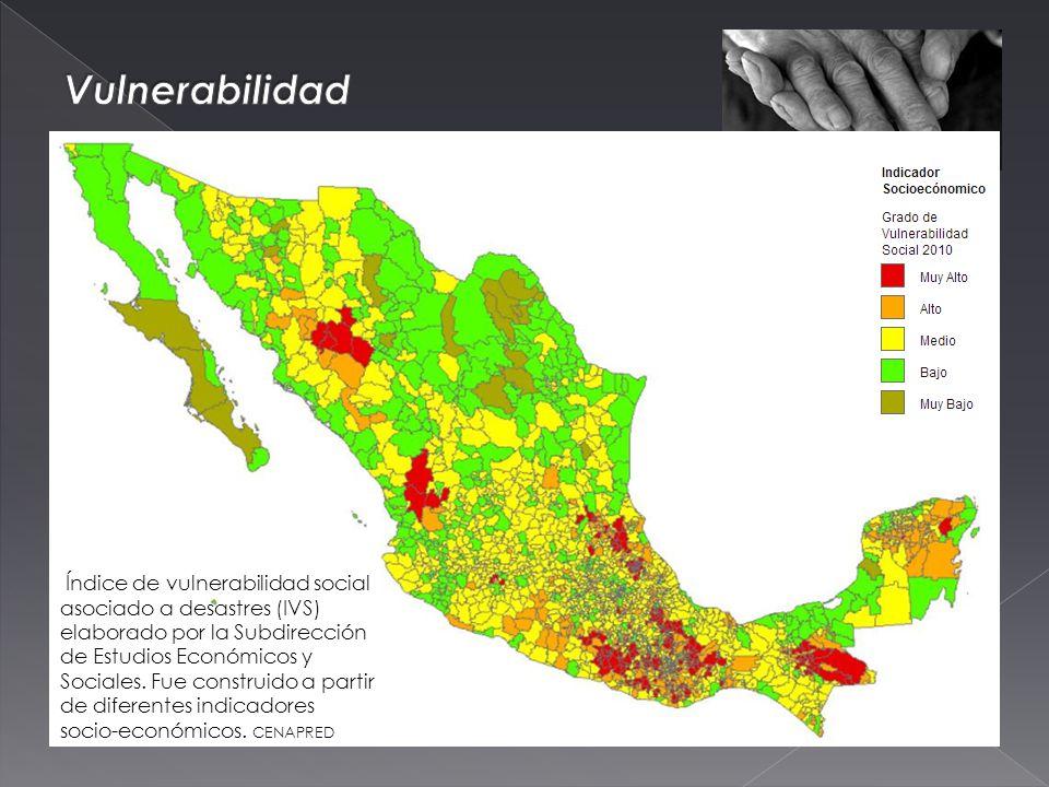 Índice de vulnerabilidad social asociado a desastres (IVS) elaborado por la Subdirección de Estudios Económicos y Sociales.