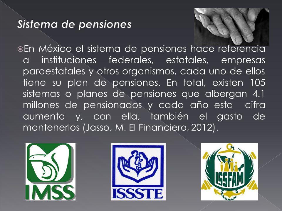 En México el sistema de pensiones hace referencia a instituciones federales, estatales, empresas paraestatales y otros organismos, cada uno de ellos tiene su plan de pensiones.