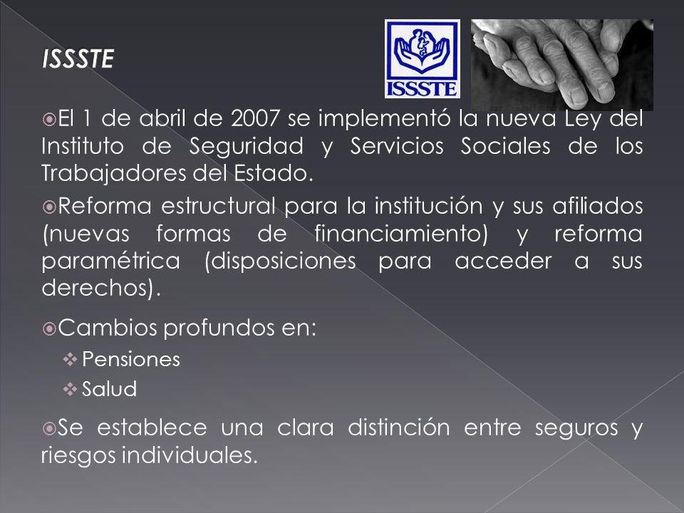 El 1 de abril de 2007 se implementó la nueva Ley del Instituto de Seguridad y Servicios Sociales de los Trabajadores del Estado.