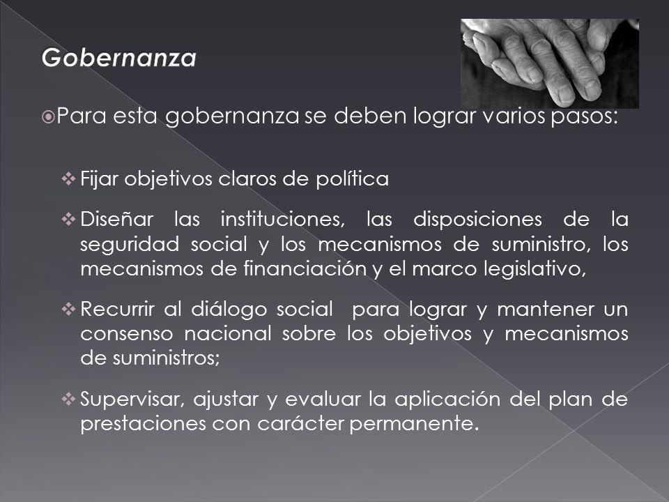 Para esta gobernanza se deben lograr varios pasos: Fijar objetivos claros de política Diseñar las instituciones, las disposiciones de la seguridad social y los mecanismos de suministro, los mecanismos de financiación y el marco legislativo, Recurrir al diálogo social para lograr y mantener un consenso nacional sobre los objetivos y mecanismos de suministros; Supervisar, ajustar y evaluar la aplicación del plan de prestaciones con carácter permanente.