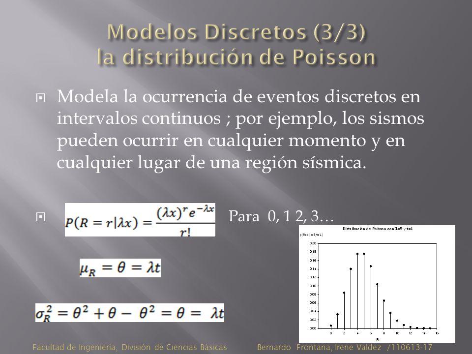 Modela la ocurrencia de eventos discretos en intervalos continuos ; por ejemplo, los sismos pueden ocurrir en cualquier momento y en cualquier lugar de una región sísmica.