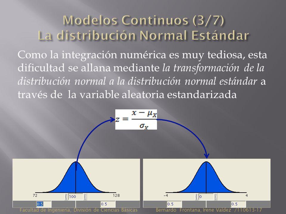 Como la integración numérica es muy tediosa, esta dificultad se allana mediante la transformación de la distribución normal a la distribución normal estándar a través de la variable aleatoria estandarizada Facultad de Ingeniería, División de Ciencias Básicas Bernardo Frontana, Irene Valdez /110613-17