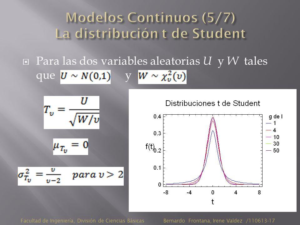 Para las dos variables aleatorias U y W tales que y Facultad de Ingeniería, División de Ciencias Básicas Bernardo Frontana, Irene Valdez /110613-17