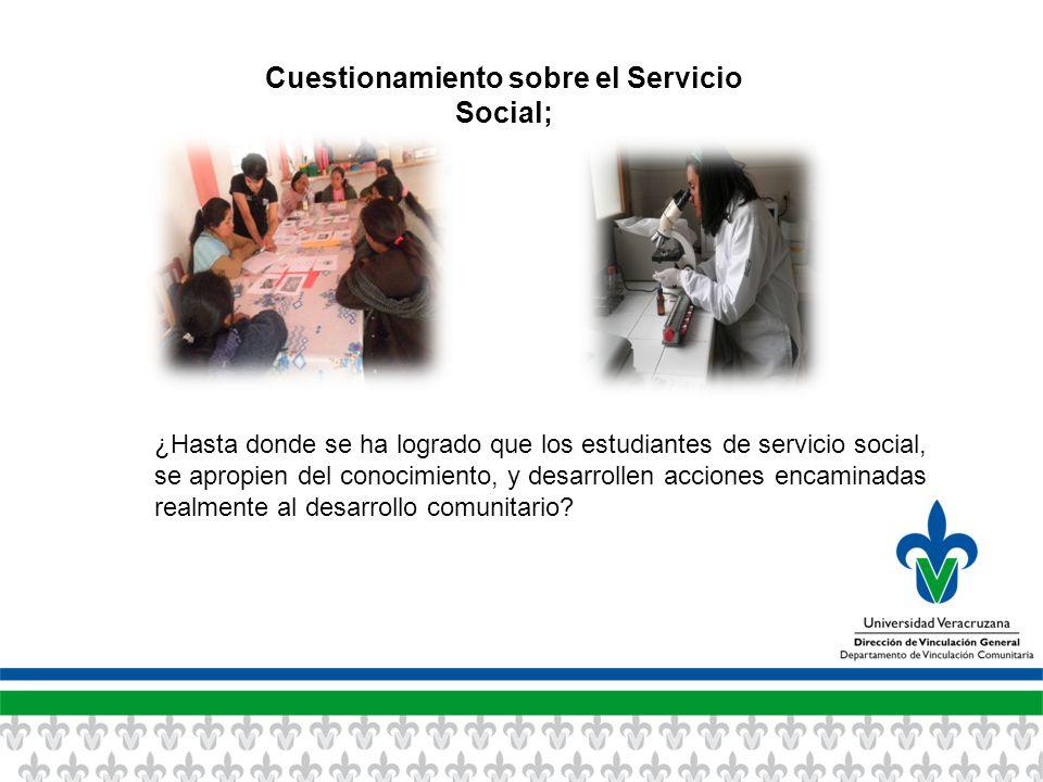 Cuestionamiento sobre el Servicio Social; ¿Hasta donde se ha logrado que los estudiantes de servicio social, se apropien del conocimiento, y desarrollen acciones encaminadas realmente al desarrollo comunitario