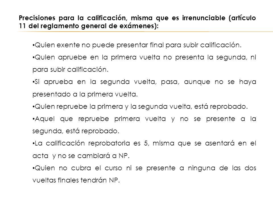 Precisiones para la calificación, misma que es irrenunciable (artículo 11 del reglamento general de exámenes): Quien exente no puede presentar final p