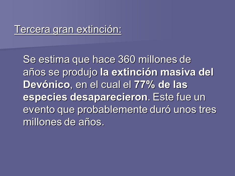 Tercera gran extinción: Se estima que hace 360 millones de años se produjo la extinción masiva del Devónico, en el cual el 77% de las especies desapar
