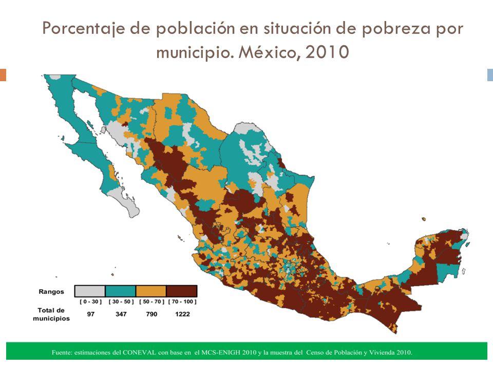 Porcentaje de población en situación de pobreza por municipio. México, 2010